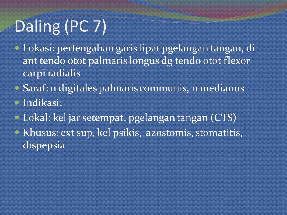 Daling (PC 7) Lokasi: pertengahan garis lipat pgelangan tangan, di ant tendo otot palmaris longus dg tendo otot flexor carpi radialis Saraf: n digitales palmaris communis, n medianus Indikasi: Lokal: kel jar setempat, pgelangan tangan (CTS) Khusus: ext sup, kel psikis, azostomis, stomatitis, dispepsia