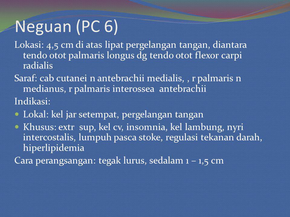 Neguan (PC 6) Lokasi: 4,5 cm di atas lipat pergelangan tangan, diantara tendo otot palmaris longus dg tendo otot flexor carpi radialis Saraf: cab cuta