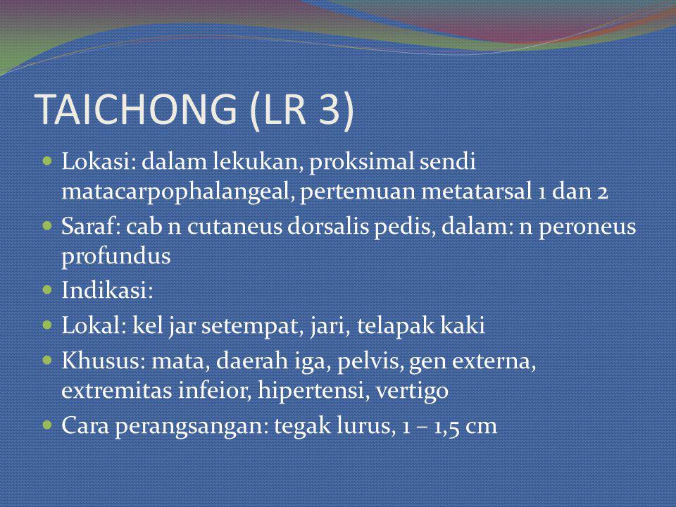 Lokasi: dalam lekukan, proksimal sendi matacarpophalangeal, pertemuan metatarsal 1 dan 2 Saraf: cab n cutaneus dorsalis pedis, dalam: n peroneus profundus Indikasi: Lokal: kel jar setempat, jari, telapak kaki Khusus: mata, daerah iga, pelvis, gen externa, extremitas infeior, hipertensi, vertigo Cara perangsangan: tegak lurus, 1 – 1,5 cm TAICHONG (LR 3)