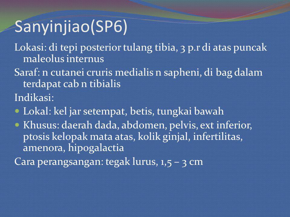Sanyinjiao(SP6) Lokasi: di tepi posterior tulang tibia, 3 p.r di atas puncak maleolus internus Saraf: n cutanei cruris medialis n sapheni, di bag dalam terdapat cab n tibialis Indikasi: Lokal: kel jar setempat, betis, tungkai bawah Khusus: daerah dada, abdomen, pelvis, ext inferior, ptosis kelopak mata atas, kolik ginjal, infertilitas, amenora, hipogalactia Cara perangsangan: tegak lurus, 1,5 – 3 cm