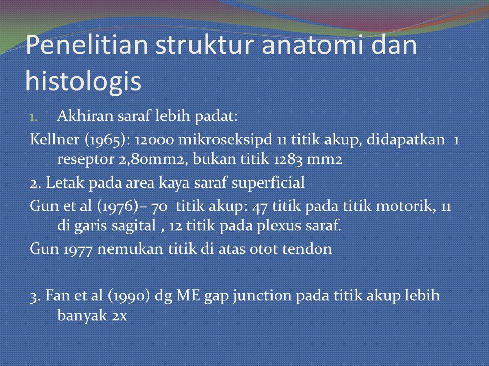 Penelitian struktur anatomi dan histologis 1. Akhiran saraf lebih padat: Kellner (1965): 12000 mikroseksipd 11 titik akup, didapatkan 1 reseptor 2,80m