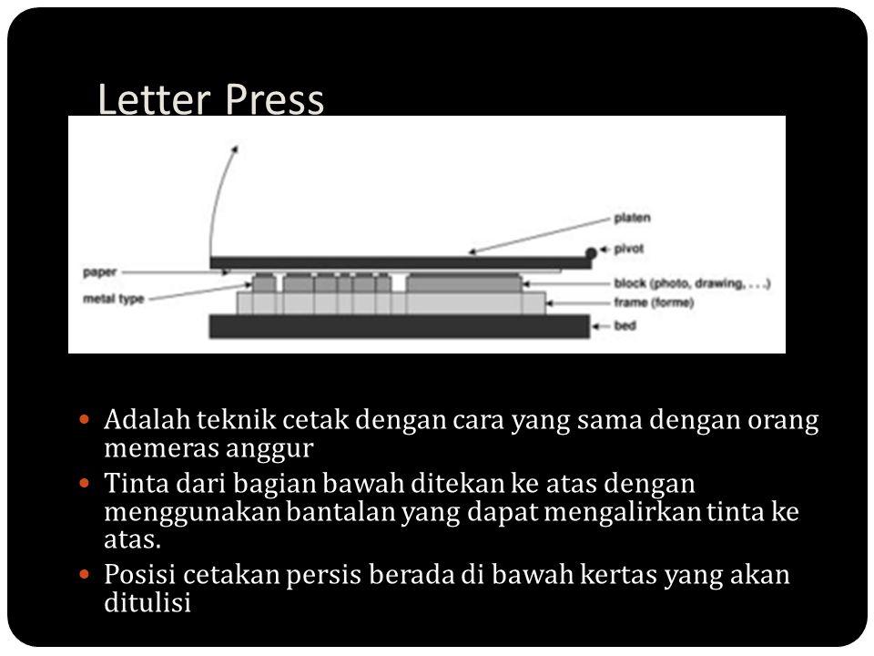 Letter Press Adalah teknik cetak dengan cara yang sama dengan orang memeras anggur Tinta dari bagian bawah ditekan ke atas dengan menggunakan bantalan