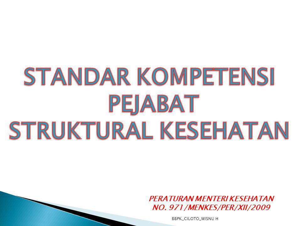 PERATURAN MENTERI KESEHATAN NO. 971/MENKES/PER/XII/2009 BBPK_CILOTO_WISNU H