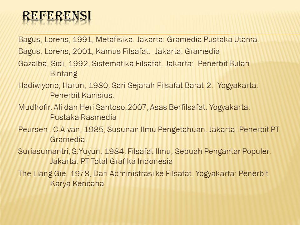 Bagus, Lorens, 1991, Metafisika.Jakarta: Gramedia Pustaka Utama.