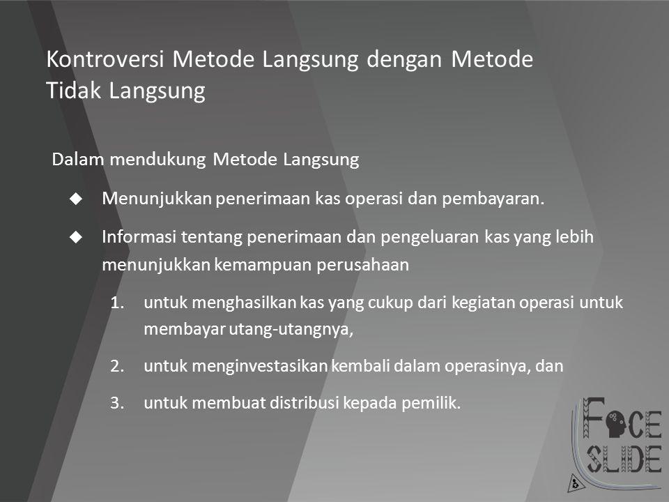 Kontroversi Metode Langsung dengan Metode Tidak Langsung Dalam mendukung Metode Langsung  Menunjukkan penerimaan kas operasi dan pembayaran.  Inform