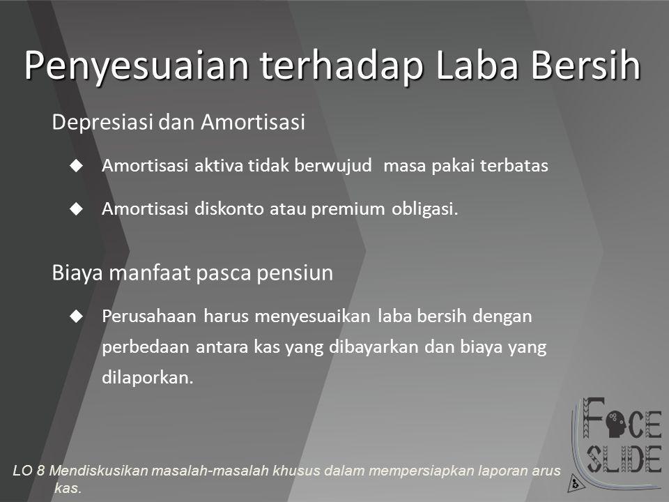 Penyesuaian terhadap Laba Bersih  Amortisasi aktiva tidak berwujud masa pakai terbatas  Amortisasi diskonto atau premium obligasi. Depresiasi dan Am