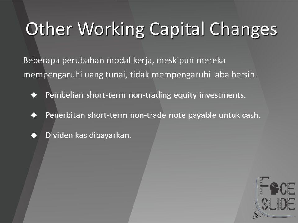 Other Working Capital Changes Beberapa perubahan modal kerja, meskipun mereka mempengaruhi uang tunai, tidak mempengaruhi laba bersih.  Pembelian sho