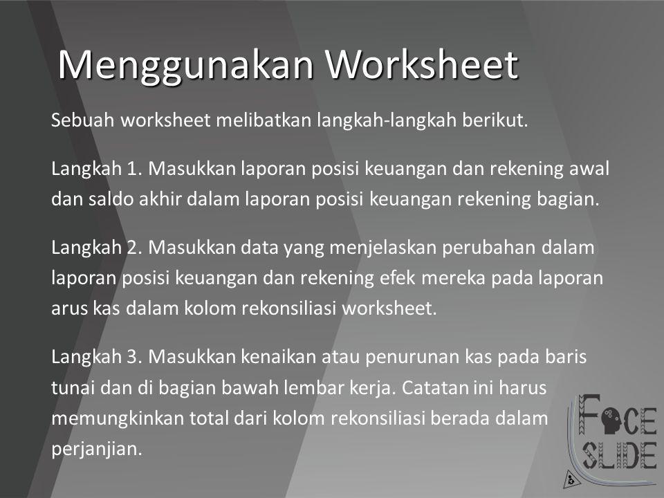 Menggunakan Worksheet Sebuah worksheet melibatkan langkah-langkah berikut. Langkah 1. Masukkan laporan posisi keuangan dan rekening awal dan saldo akh