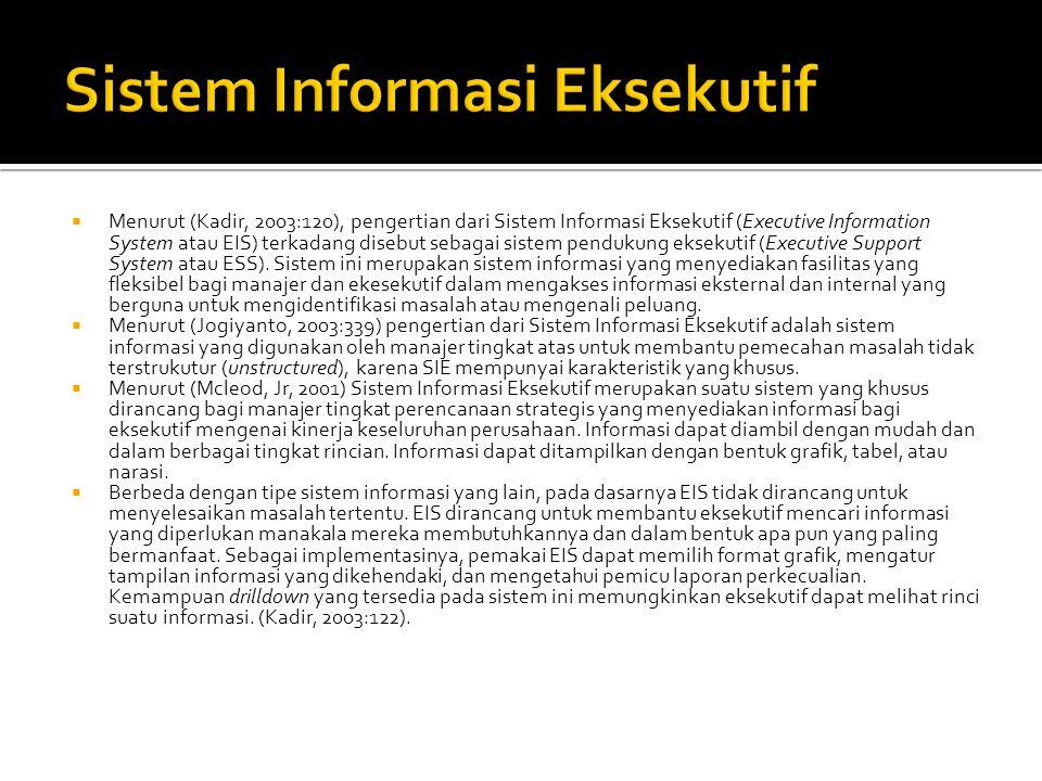  Menurut (Kadir, 2003:120), pengertian dari Sistem Informasi Eksekutif (Executive Information System atau EIS) terkadang disebut sebagai sistem pendu