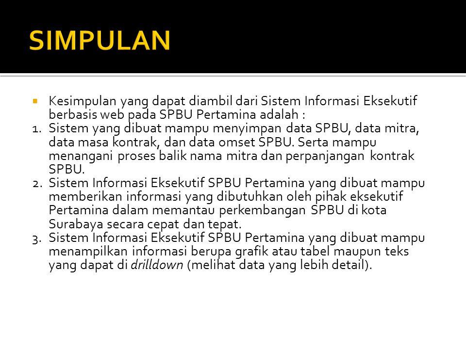  Kesimpulan yang dapat diambil dari Sistem Informasi Eksekutif berbasis web pada SPBU Pertamina adalah : 1.Sistem yang dibuat mampu menyimpan data SP