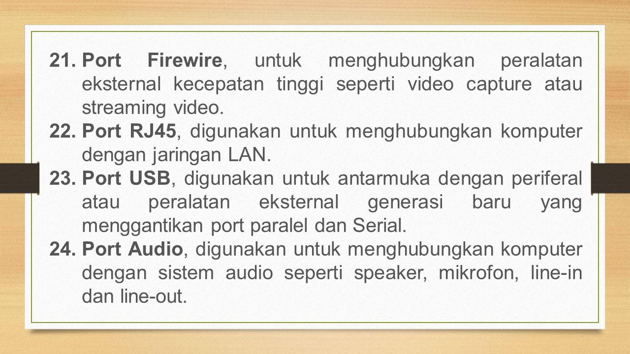 21.Port Firewire, untuk menghubungkan peralatan eksternal kecepatan tinggi seperti video capture atau streaming video. 22.Port RJ45, digunakan untuk m