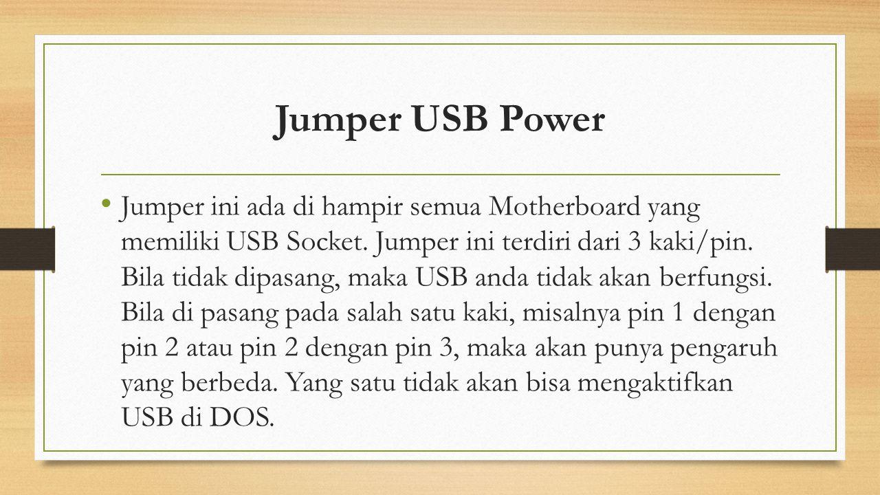 Jumper USB Power Jumper ini ada di hampir semua Motherboard yang memiliki USB Socket. Jumper ini terdiri dari 3 kaki/pin. Bila tidak dipasang, maka US
