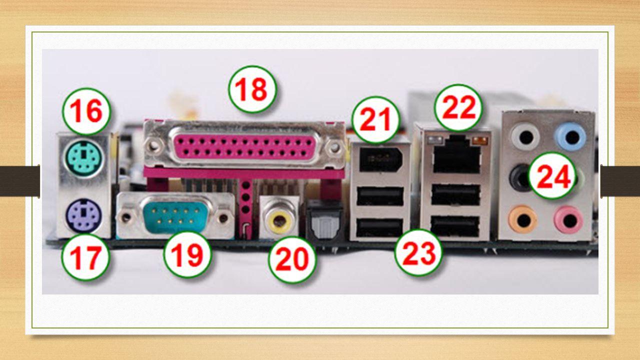 16.Port PS/2 Mouse, untuk menghubungkan mouse dengan komputer.