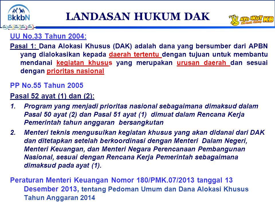 UU No.33 Tahun 2004: Pasal 1: Dana Alokasi Khusus (DAK) adalah dana yang bersumber dari APBN yang dialokasikan kepada daerah tertentu dengan tujuan un