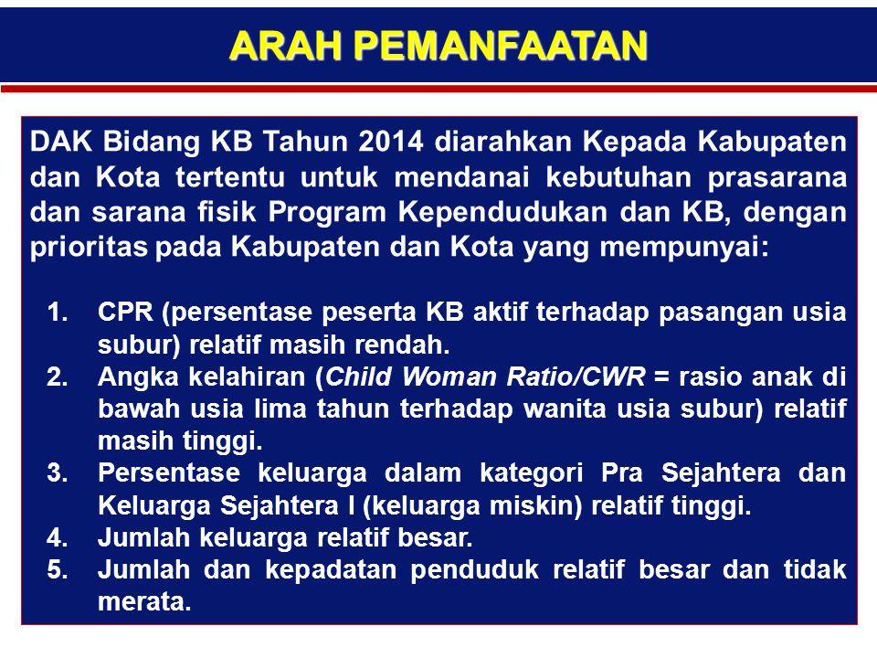ARAH PEMANFAATAN DAK Bidang KB Tahun 2014 diarahkan Kepada Kabupaten dan Kota tertentu untuk mendanai kebutuhan prasarana dan sarana fisik Program Kep