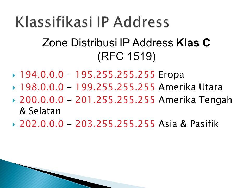  194.0.0.0 - 195.255.255.255 Eropa  198.0.0.0 - 199.255.255.255 Amerika Utara  200.0.0.0 - 201.255.255.255 Amerika Tengah & Selatan  202.0.0.0 - 203.255.255.255 Asia & Pasifik Zone Distribusi IP Address Klas C (RFC 1519)