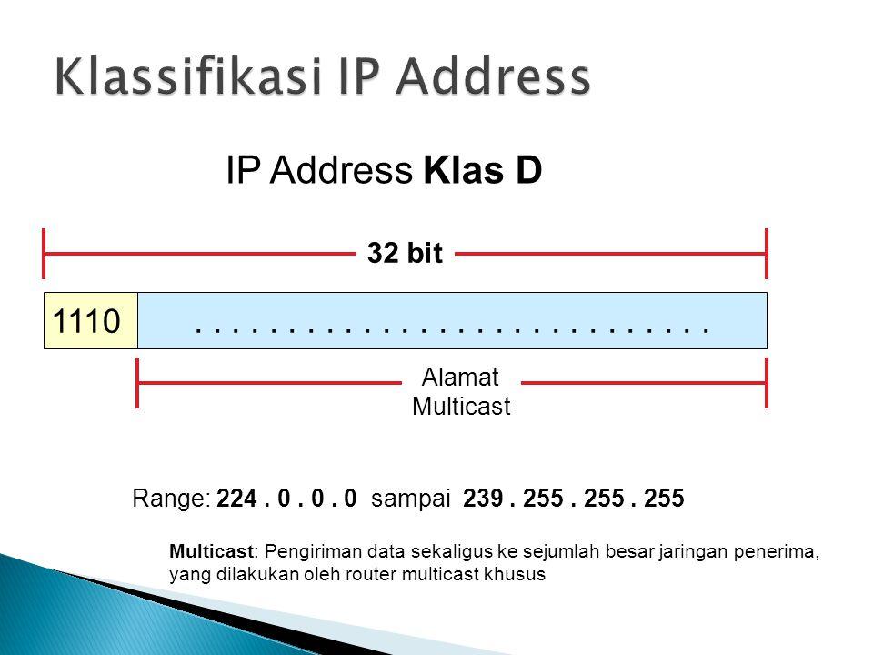 IP Address Klas D 1110 32 bit.............. Alamat Multicast Range: 224. 0. 0. 0 sampai 239. 255. 255. 255 Multicast: Pengiriman data sekaligus ke sej
