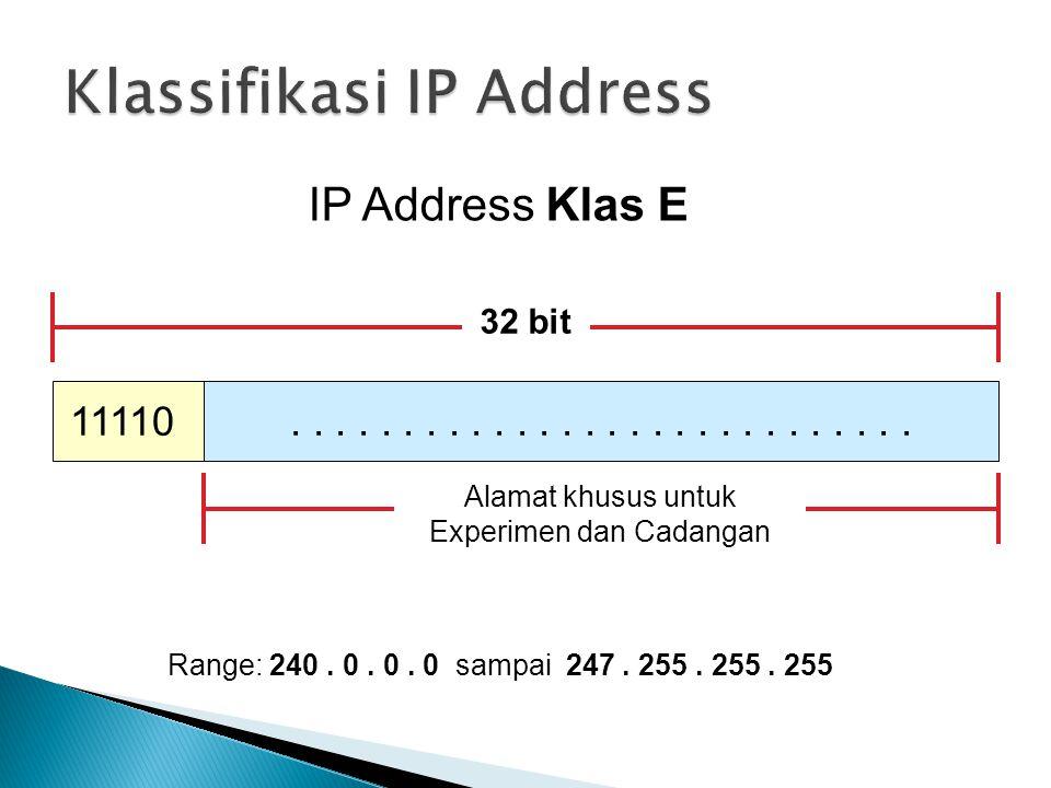IP Address Klas E 11110 32 bit.............. Alamat khusus untuk Experimen dan Cadangan Range: 240. 0. 0. 0 sampai 247. 255. 255. 255