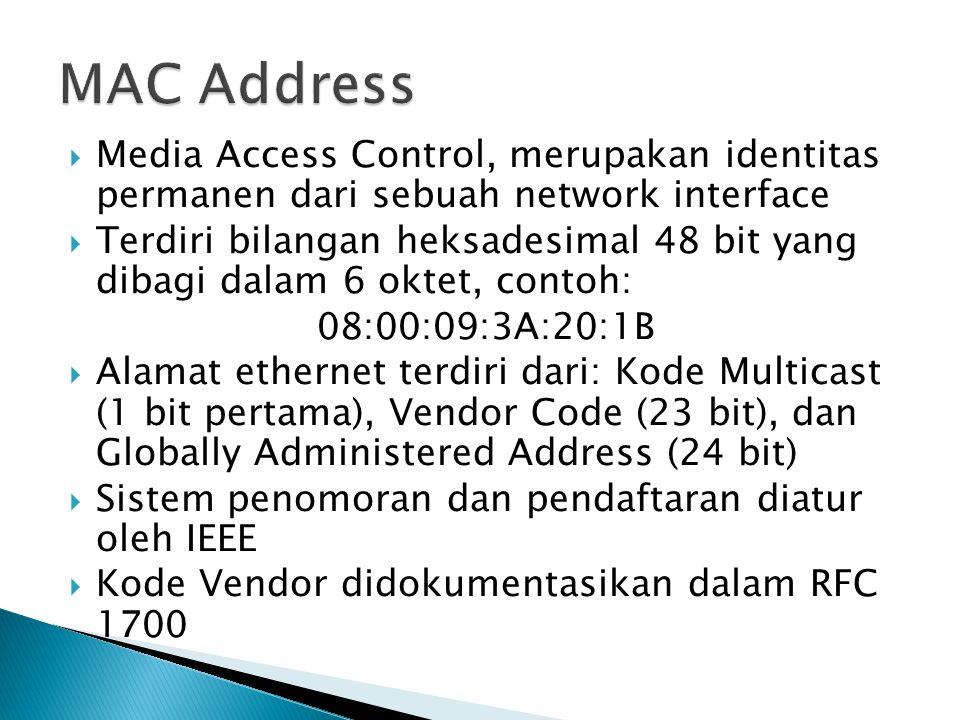  Media Access Control, merupakan identitas permanen dari sebuah network interface  Terdiri bilangan heksadesimal 48 bit yang dibagi dalam 6 oktet, contoh: 08:00:09:3A:20:1B  Alamat ethernet terdiri dari: Kode Multicast (1 bit pertama), Vendor Code (23 bit), dan Globally Administered Address (24 bit)  Sistem penomoran dan pendaftaran diatur oleh IEEE  Kode Vendor didokumentasikan dalam RFC 1700