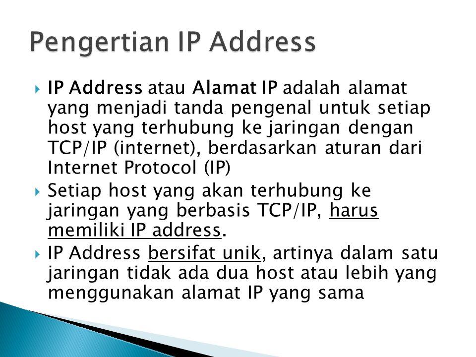  IP Address atau Alamat IP adalah alamat yang menjadi tanda pengenal untuk setiap host yang terhubung ke jaringan dengan TCP/IP (internet), berdasarkan aturan dari Internet Protocol (IP)  Setiap host yang akan terhubung ke jaringan yang berbasis TCP/IP, harus memiliki IP address.