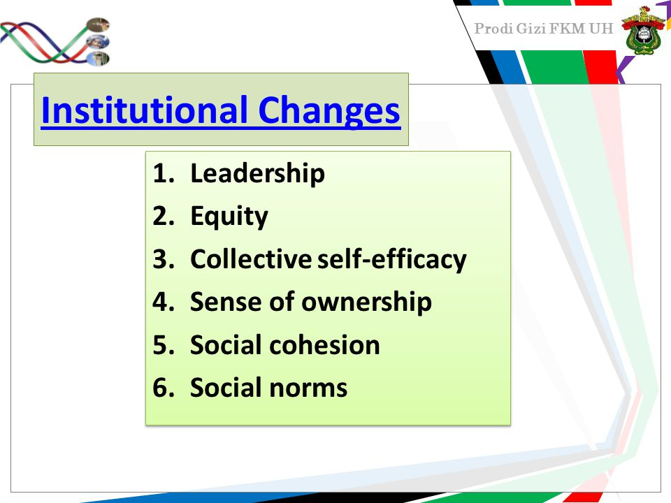 Prodi Gizi FKM UH Institutional Changes 1.Leadership 2.Equity 3.Collective self-efficacy 4.Sense of ownership 5.Social cohesion 6.Social norms 1.Leadership 2.Equity 3.Collective self-efficacy 4.Sense of ownership 5.Social cohesion 6.Social norms