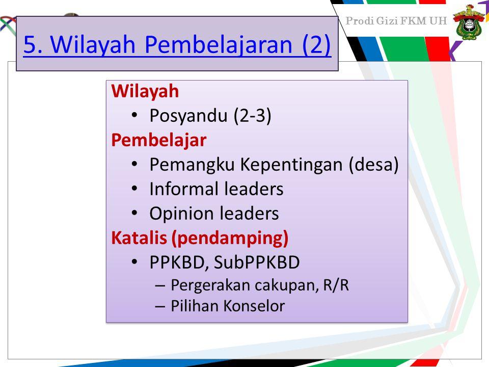 Prodi Gizi FKM UH 5. Wilayah Pembelajaran (2) Wilayah Posyandu (2-3) Pembelajar Pemangku Kepentingan (desa) Informal leaders Opinion leaders Katalis (