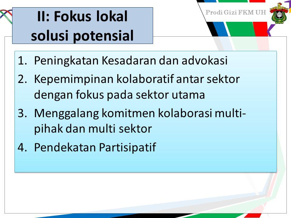 Prodi Gizi FKM UH II: Fokus lokal solusi potensial 1.Peningkatan Kesadaran dan advokasi 2.Kepemimpinan kolaboratif antar sektor dengan fokus pada sekt