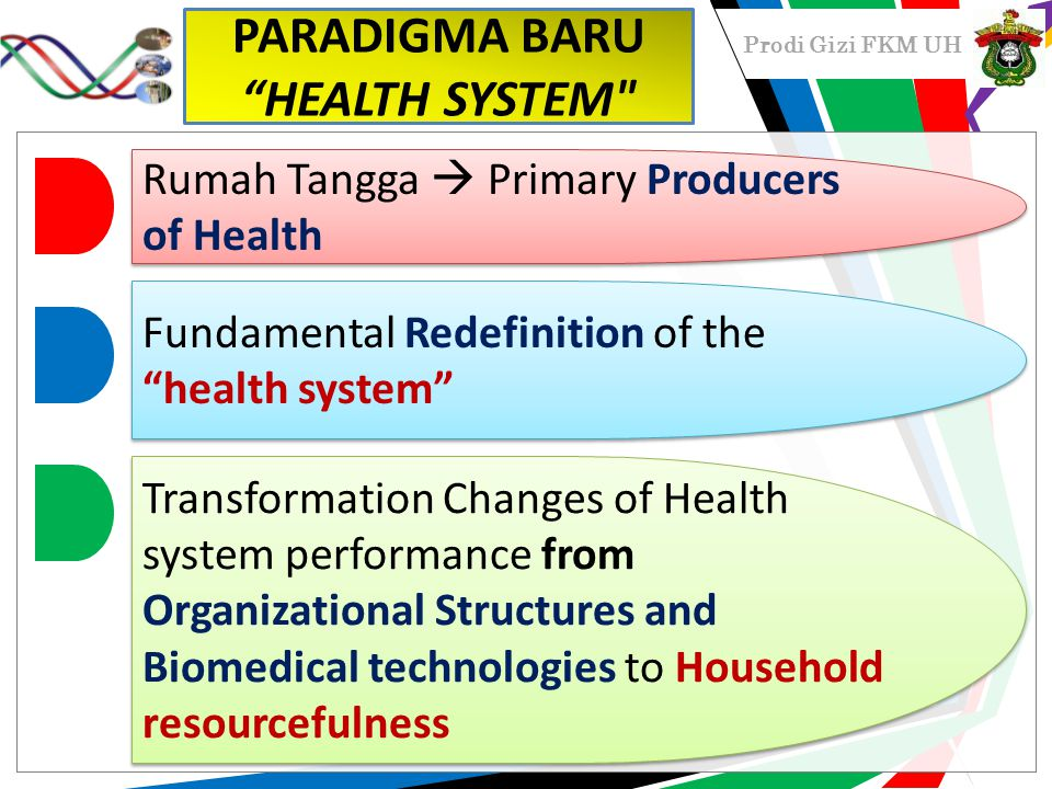 Prodi Gizi FKM UH PARADIGMA BARU HEALTH SYSTEM Rumah Tangga  Primary Producers of Health Fundamental Redefinition of the health system Transformation Changes of Health system performance from Organizational Structures and Biomedical technologies to Household resourcefulness