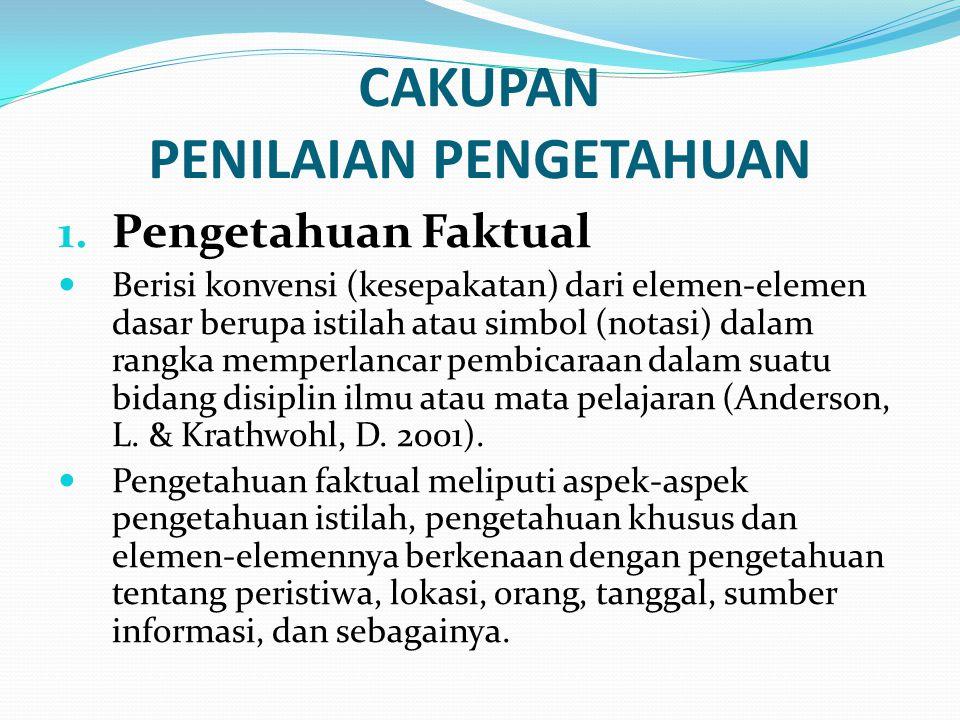 CAKUPAN PENILAIAN PENGETAHUAN 1.
