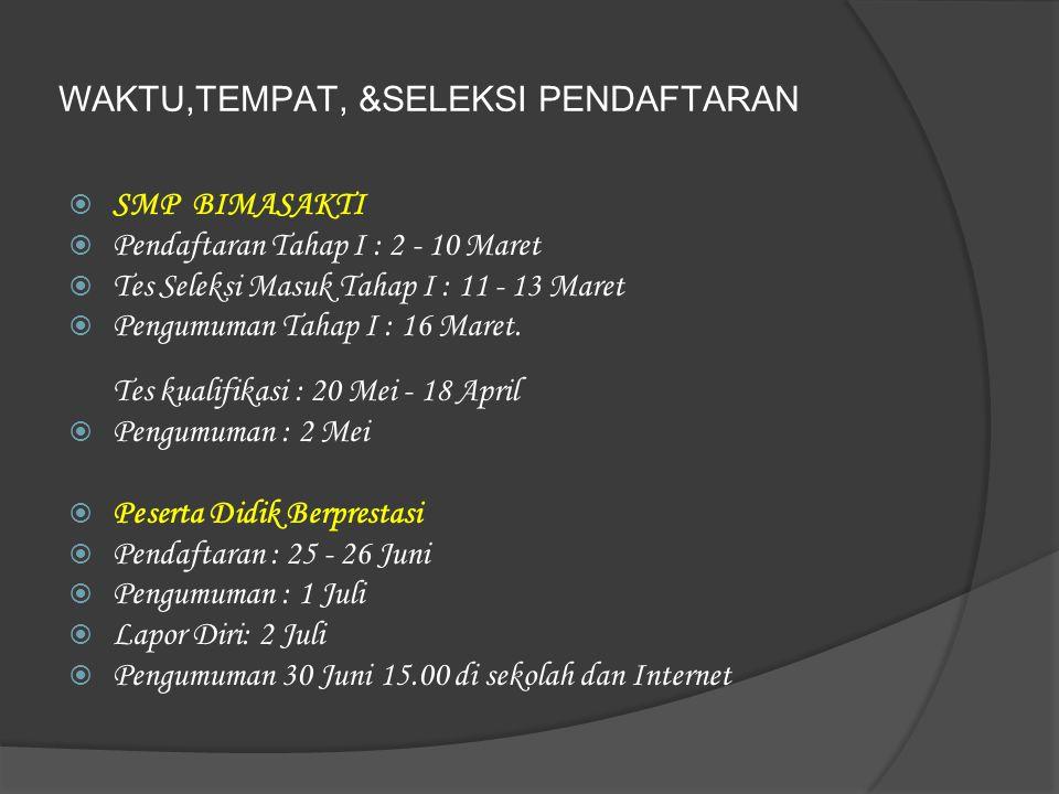 WAKTU,TEMPAT, &SELEKSI PENDAFTARAN  SMP BIMASAKTI  Pendaftaran Tahap I : 2 - 10 Maret  Tes Seleksi Masuk Tahap I : 11 - 13 Maret  Pengumuman Tahap I : 16 Maret.