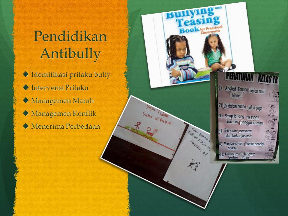 Pendidikan Antibully  Identifikasi prilaku bully  Intervensi Prilaku  Managemen Marah  Managemen Konflik  Menerima Perbedaan