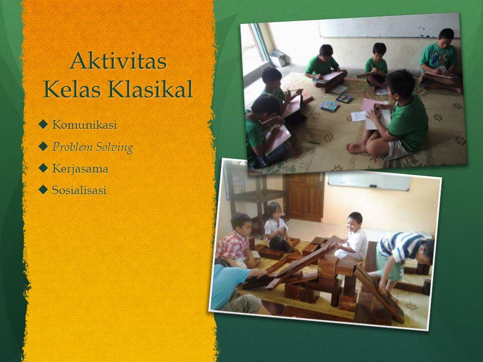 Aktivitas Kelas Klasikal  Komunikasi  Problem Solving  Kerjasama  Sosialisasi
