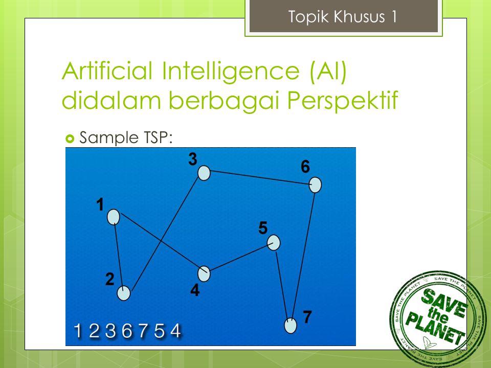Artificial Intelligence (AI) didalam berbagai Perspektif  Sample TSP: Topik Khusus 1