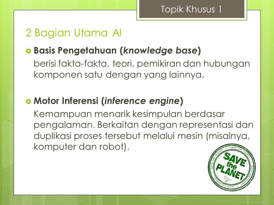 2 Bagian Utama AI  Basis Pengetahuan ( knowledge base ) berisi fakta-fakta, teori, pemikiran dan hubungan komponen satu dengan yang lainnya.  Motor