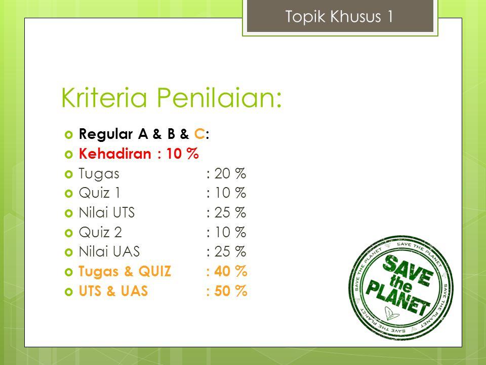 Kriteria Penilaian:  Regular A & B & C:  Kehadiran: 10 %  Tugas: 20 %  Quiz 1: 10 %  Nilai UTS: 25 %  Quiz 2: 10 %  Nilai UAS: 25 %  Tugas & Q