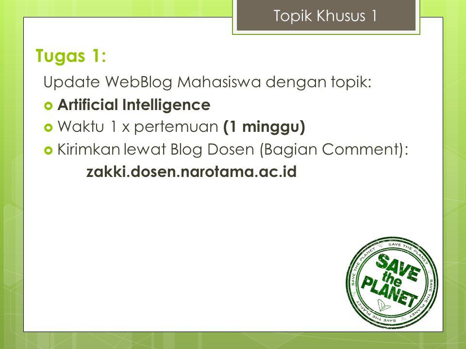 Tugas 1: Update WebBlog Mahasiswa dengan topik:  Artificial Intelligence  Waktu 1 x pertemuan (1 minggu)  Kirimkan lewat Blog Dosen (Bagian Comment