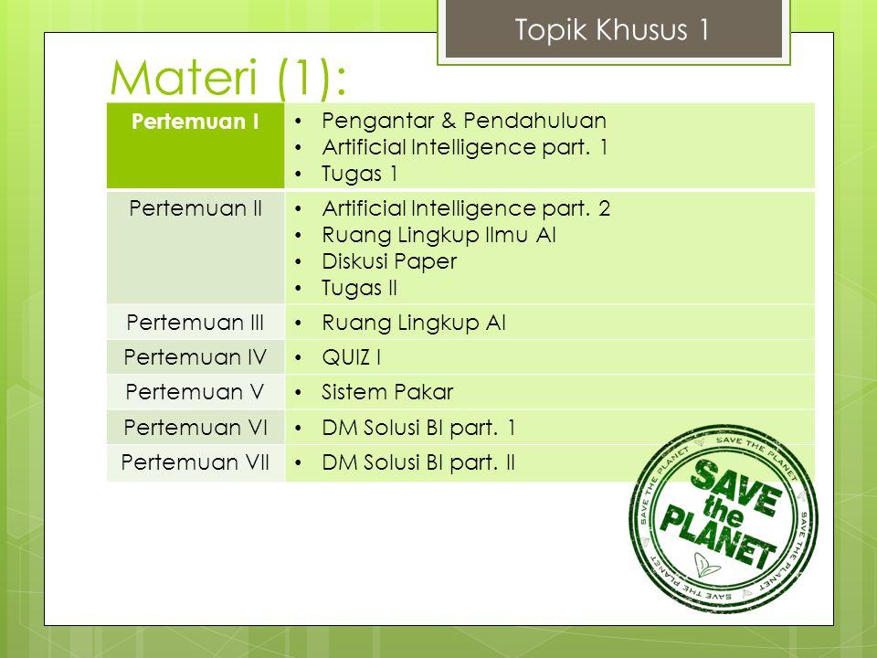 Materi (2): Topik Khusus 1 Pertemuan VIII Tentang Fuzzy Logic part.