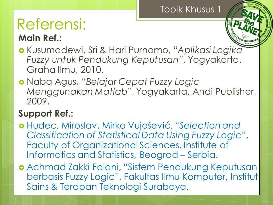 "Referensi: Main Ref.:  Kusumadewi, Sri & Hari Purnomo, ""Aplikasi Logika Fuzzy untuk Pendukung Keputusan"", Yogyakarta, Graha Ilmu, 2010.  Naba Agus,"