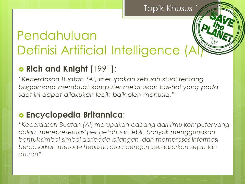 """Pendahuluan Definisi Artificial Intelligence (AI)  Rich and Knight [1991]: """"Kecerdasan Buatan (AI) merupakan sebuah studi tentang bagaimana membuat k"""
