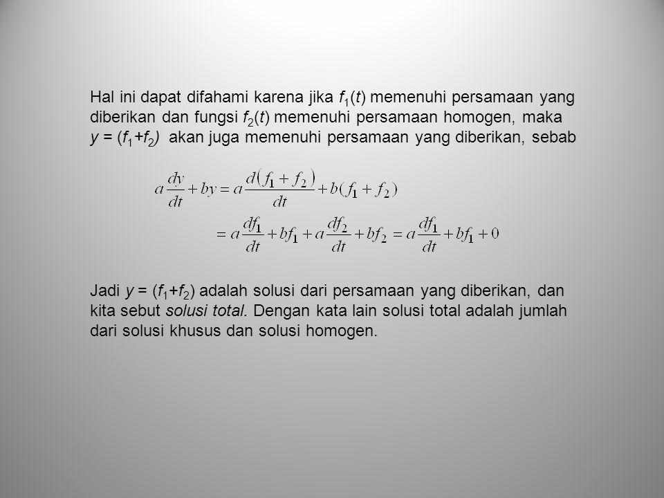 Hal ini dapat difahami karena jika f 1 (t) memenuhi persamaan yang diberikan dan fungsi f 2 (t) memenuhi persamaan homogen, maka y = (f 1 +f 2 ) akan
