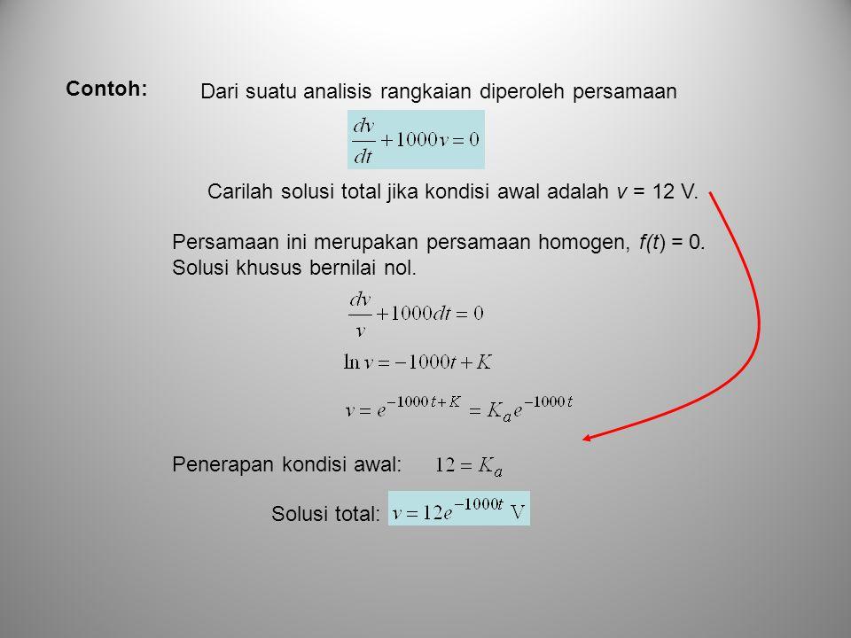 Dari suatu analisis rangkaian diperoleh persamaan Carilah solusi total jika kondisi awal adalah v = 12 V. Contoh: Persamaan ini merupakan persamaan ho