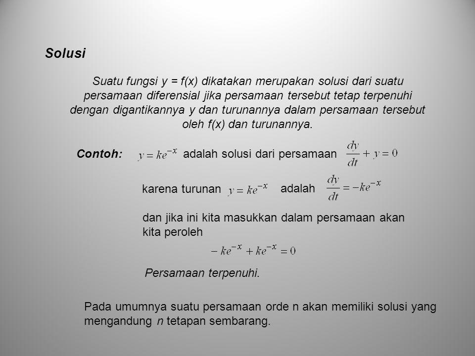 Solusi Suatu fungsi y = f(x) dikatakan merupakan solusi dari suatu persamaan diferensial jika persamaan tersebut tetap terpenuhi dengan digantikannya