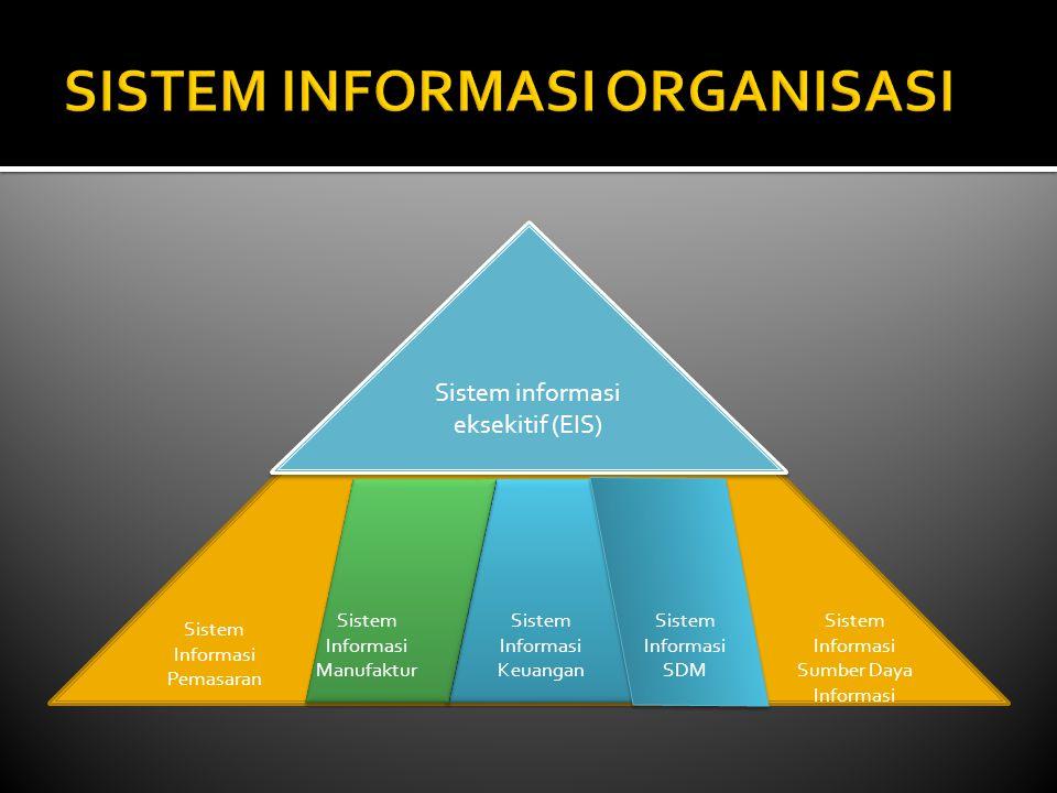 Sistem informasi eksekitif (EIS) Sistem Informasi Pemasaran Sistem Informasi Manufaktur Sistem Informasi Sumber Daya Informasi Sistem Informasi Keuangan Sistem Informasi SDM