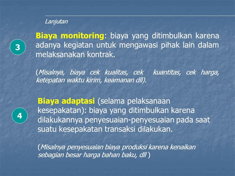 Lanjutan Biaya monitoring: biaya yang ditimbulkan karena adanya kegiatan untuk mengawasi pihak lain dalam melaksanakan kontrak. (Misalnya, biaya cek k