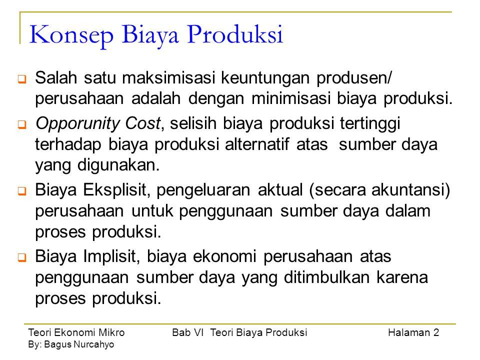 Teori Ekonomi Mikro Bab VI Teori Biaya Produksi Halaman 3 By: Bagus Nurcahyo Hubungan Biaya Produksi dengan Hasil Produksi Biaya = f (Q)dimana Q = Output Output = f(X)dimana X = Input Fungsi Biaya Produksi, hubungan input dan output (besarnya biaya produksi dipengaruhi jumlah output, besarnya biaya output tergantung pada biaya atas input yang digunakan).