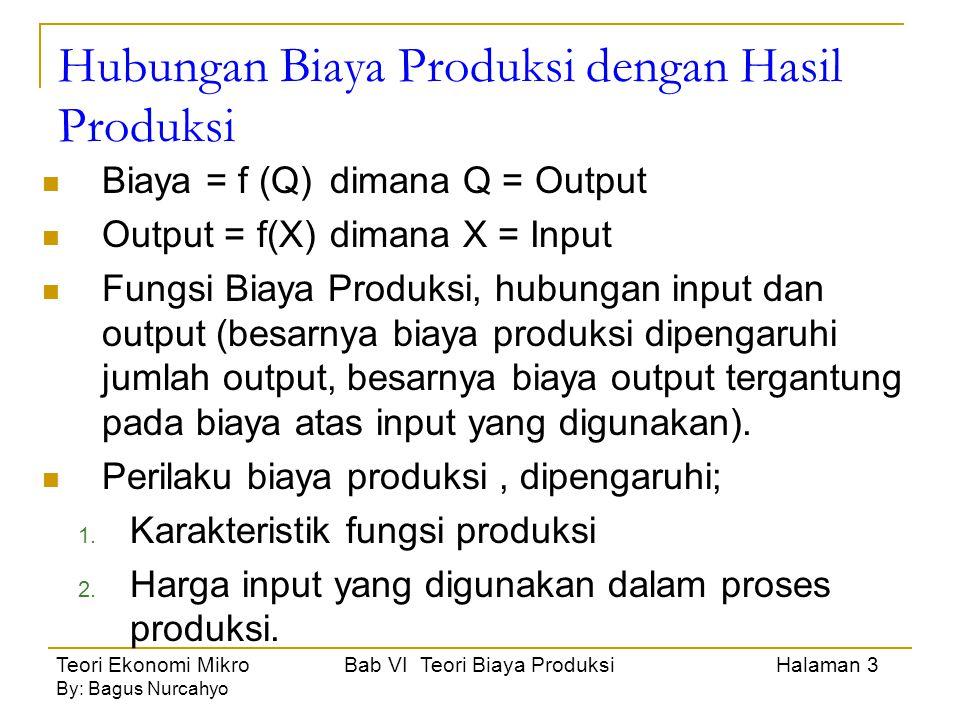 Teori Ekonomi Mikro Bab VI Teori Biaya Produksi Halaman 4 By: Bagus Nurcahyo Analisis Biaya Produksi Jangka Pendek 3 konsep (fungsi) tentang biaya produksi, yaitu; 1.