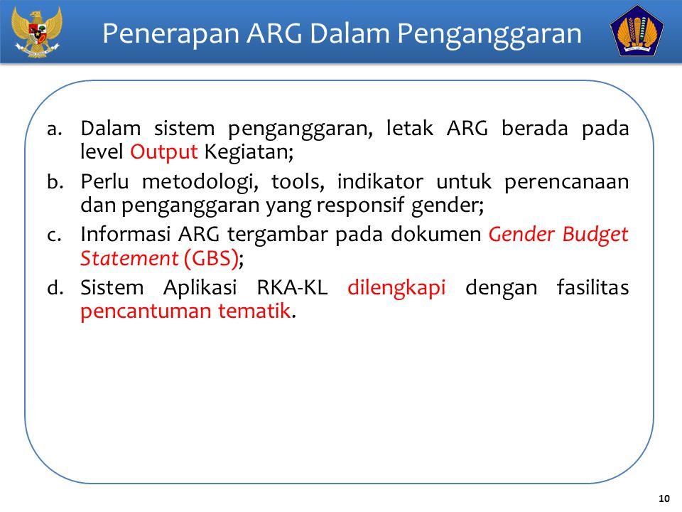 10 Penerapan ARG Dalam Penganggaran a. Dalam sistem penganggaran, letak ARG berada pada level Output Kegiatan; b. Perlu metodologi, tools, indikator u