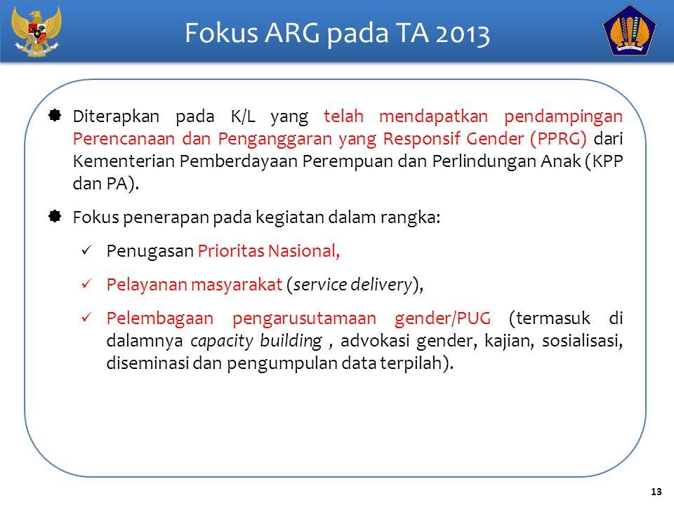 13 Fokus ARG pada TA 2013  Diterapkan pada K/L yang telah mendapatkan pendampingan Perencanaan dan Penganggaran yang Responsif Gender (PPRG) dari Kem