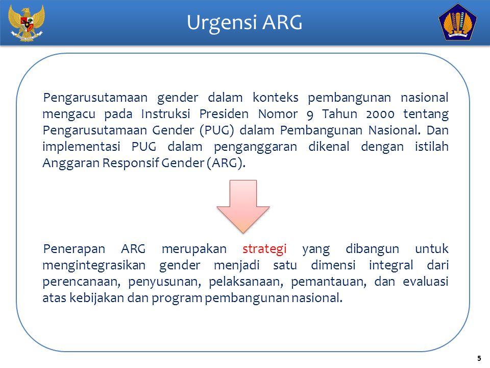 6 Pengertian ARG Anggaran Responsif Gender (ARG) adalah anggaran yang mengakomodasi keadilan bagi perempuan dan laki-laki dalam memperoleh akses, manfaat, berpartisipasi dalam mengambil keputusan dan mengontrol sumber-sumber daya serta kesetaraan terhadap kesempatan dan peluang dalam menikmati hasil pembangunan ARG bukan fokus pada penyediaan anggaran pengarusutamaan gender, tapi lebih kepada mewujudkan keadilan bagi perempuan dan laki-laki dalam memperoleh akses, manfaat, berpartisipasi dalam proses pengambilan keputusan dan mempunyai kontrol terhadap sumber-sumber daya, serta mewujudkan kesetaraan bagi perempuan dan laki-laki dalam memilih dan menikmati hasil pembangunan.