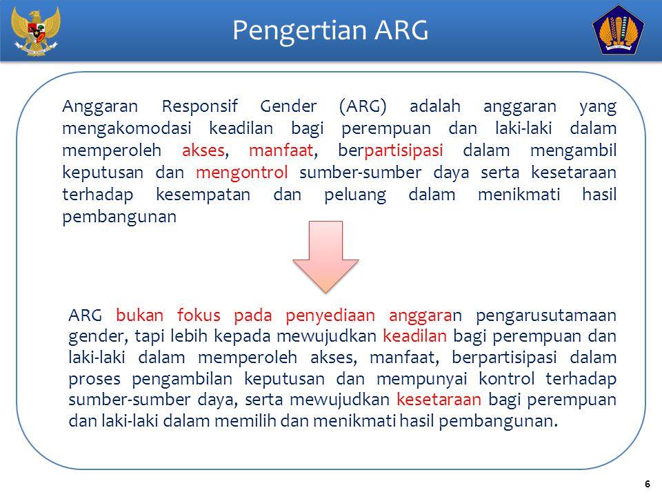 6 Pengertian ARG Anggaran Responsif Gender (ARG) adalah anggaran yang mengakomodasi keadilan bagi perempuan dan laki-laki dalam memperoleh akses, manf